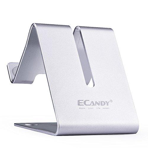 Ecandy beweglicher Aluminium Desktop-Ständer Mini Mount Halterung Kompatibel mit iPhone 6 6s 6plus 5s 5 Samsung Galaxy S6 S5 Anmerkung 5 iPad Mini Air 4 E-Reader und andere intelligente Handys und die meisten Tablets (silber)