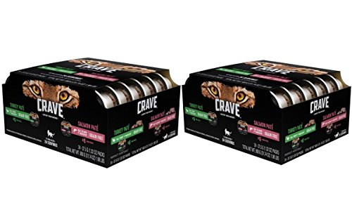 Crave Grain Free High Protein Turkey Paté and Salmon Paté Mutipack Wet Cat Food (24 Twin Packs, 2.6 oz each)