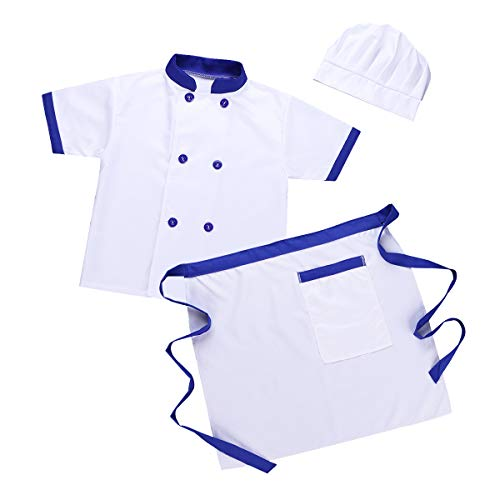 CHICTRY Kids Children Classic Chief Kitchen Cooking Costumes Jacket +Apron+ Hat+Hairpin 4pcs Outfits Set Blue&White 5-6 -