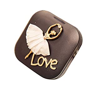Beautiful Contact Lenses Holder with Ballet Girl Pattern Lenses Case, Black