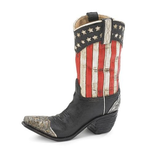 Patriotic Western Cowboy Boot Vase Decorative Home Decor Great for (Cowboy Boot Vase)