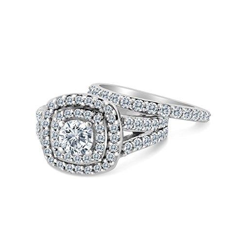 2.00ct Cushion Halo Diamond Engagement Wedding Ring Set 10K White Gold