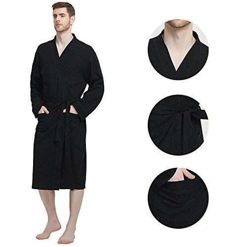 M&M Mymoon Men's Kimono Robe Long Comfy Bathrobe Cotton Loungewear Spa Cloth Robe (Black, L/XL) by M&M Mymoon (Image #4)