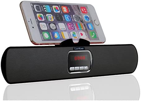 LarKoo Ultra Portable Wireles Rechargeable Handsfree Bracket Bluetooth Speaker Stereo System Phone Holder Mount Stand for Android Smartphones and Tablets iPad iPhone 5S 6 6S 7 8 Plus X Black