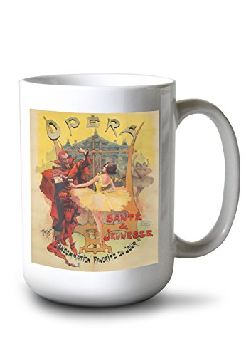 (Opera Vintage Poster (Artist: Blott) France c. 1897 (15oz White Ceramic Mug))