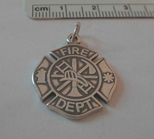 Sterling Silver 3D 21mm Firemans Firefighter Badge Charm Jewelry Making Supply, Pendant, Sterling Charm, Bracelet, Beads, DIY Crafting and Other by Wholesale -