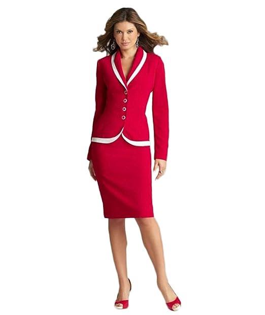 Amazon.com: Traje de boda para mujer, color rojo, 2 piezas ...