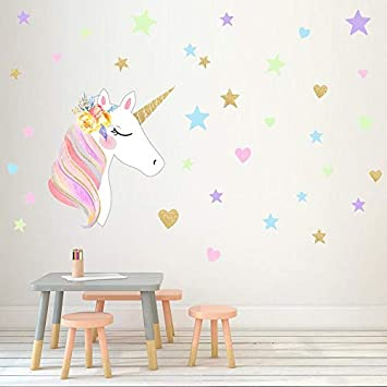 5c58522d08 30 X 60CM DIY Magic Unicorn Wall Stickers Colorful Animals Horse Stars Wall  Decals For Kids
