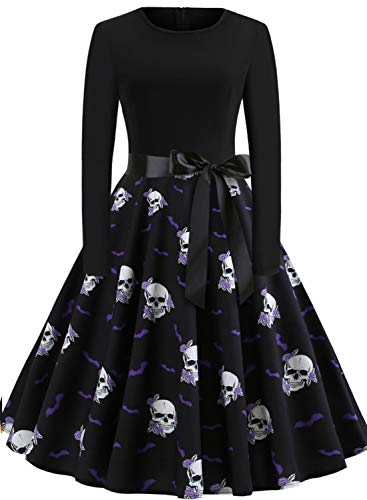 GreaSmart Halloween Dress, A-long Sleeve Skull Dress, Large(fits like US 8-10) (Skull Dress For Women)