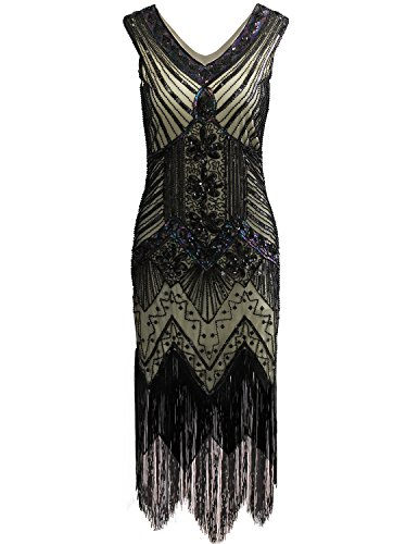 Vijiv Women 1920s Gastby Sequin Art Nouveau Embellished Fringed Cocktail Dresses, Black+Green, -