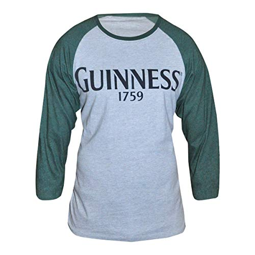 Baseball Guinness (Guinness Men's Grey Cotton Vintage Baseball Style Long Sleeve T-Shirt)