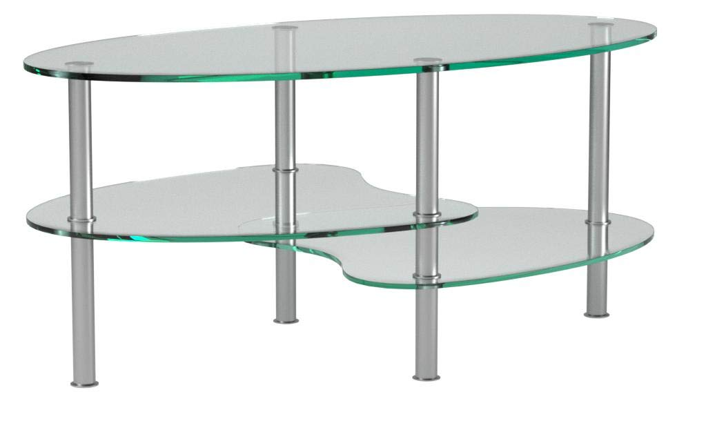 Ryan Rove Ashley - Oval Two Tier Glass Coffee Table - Coffee Tables for Living Room, Kitchen, Bedroom - Office - Glass Shelves Under Desk Storage - Silver and Clear Glass by Ryan Rove