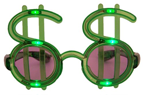 Wire Rimmed Glasses Costume (Green LED Flashing Light Up Dollar Sign Shades Glasses)