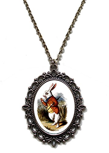 Victorian Vault Art Painting Alice in Wonderland Steampunk Pendant Necklace on Chain (027 White Rabbit) ()