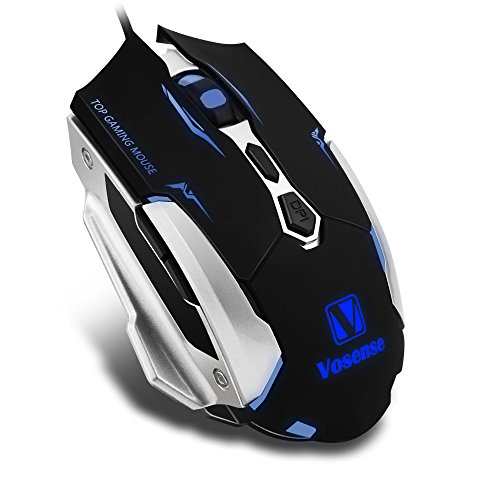 VOSENSE M Professional LED 7 Buttons USB Wired Gaming Mouse Mice 4 DPI Switch Function 2400 DPI For Game(Black)