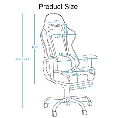 JINGXIANG kontorsstolar racerstol vilande roterbar spelstol lädersäte kontor fåtölj med fotstöd (färg: Himmelsblå) Himmelsblått