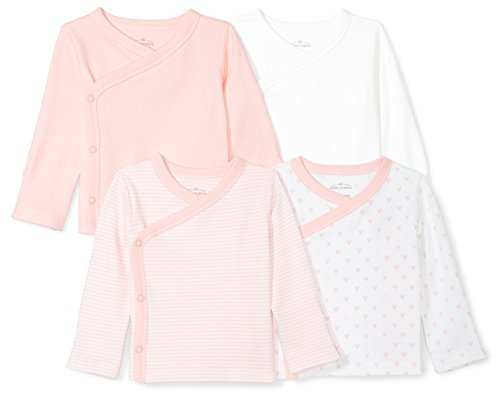 Snap Zero (Moon and Back Baby Set of 4 Organic Long-Sleeve Side-Snap Shirts, Pink Blush, 0-3 Months)