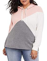 Women Plus Size Hooded Sweatshirt Striped Long Sleeve...