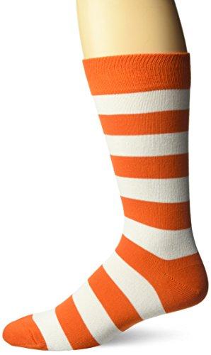 Hot Sox Men's Fashion Pattern Slack Crew Socks, College Rugby Stripe (Orange/White), Shoe Size: 6-12 ()