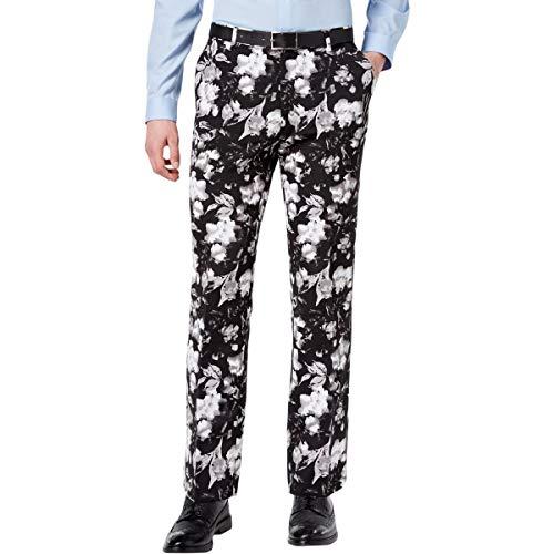 INC Mens Ottoman Floral Print Slim Fit Straight Leg Pants B/W 32/32