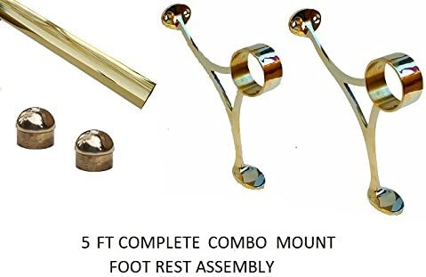 5 ft Foot Rail -2 OD Brass Bar Foot Rail with 2 Combination Brackets-2 Dome End Caps