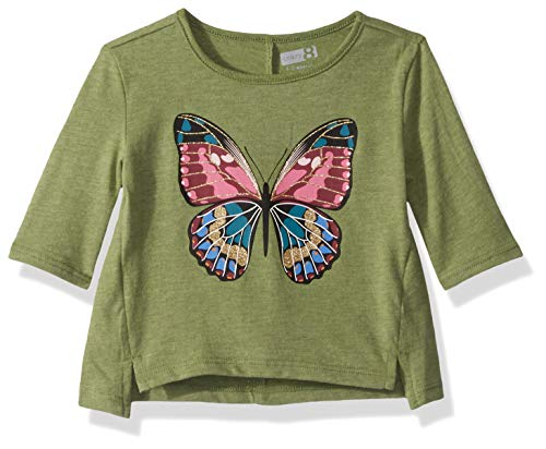 Crazy 8 Baby Girls 3/4 Sleeve Graphic Tee, Olive Butterfly, 2T