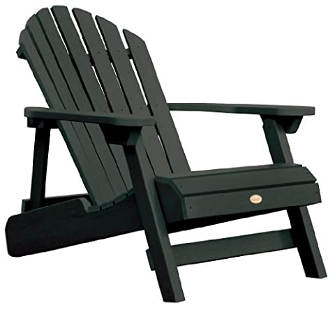 Highwood Hamilton Folding and Reclining Adirondack Chair, Adult Size, Charleston Green - Classic Collection Adirondack Deck Chair