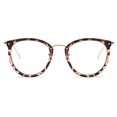 Amomoma Womens Fashion Clear Lens Round Frame Eye Glasses AM5001 Leopard Frame/Clear - For Fake Fashion Glasses