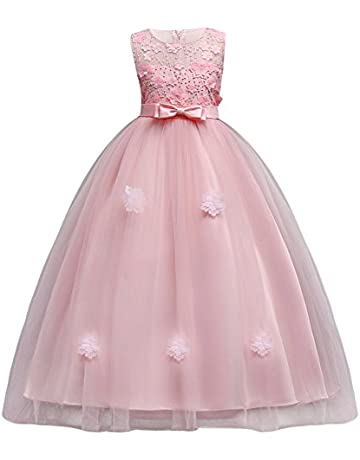 29840aee40 Little Big Girls'Tulle Retro Vintage 7-16T Dresses Flower Lace Pageant  Party Wedding