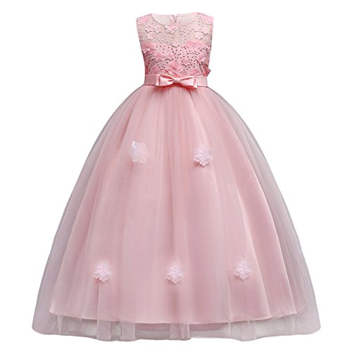 Kids Girls Tulle Princess Long Applique Flower Dress Lace Pageant Wedding Bridesmaid Floor Length Dance Evening ()