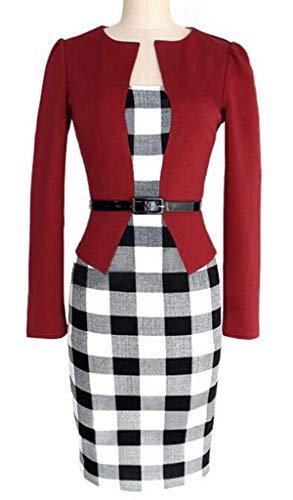 E Lunghe Aderente Tupath Quadri Con Rosso Da In Maniche Motivo Donna Vestito A Tessuto 1K3TlFJc