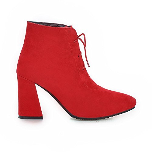geschlossene Low Solide Heels Zehe Top Stiefel Spitze Allhqfashion Frosted High Frauen Rot EOq0Ufzp