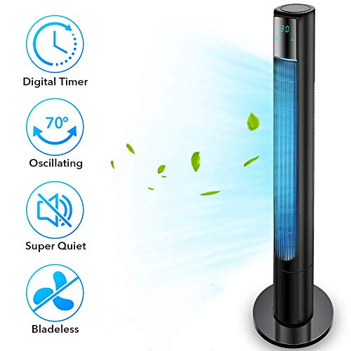 "48"" Quiet Tower Fan, Remote Control Tower Fan with 3 Modes & 3 Speeds, Oscillating Tower Fan with Digital Timer, Bladeless Cooling Fan for Your Summer"