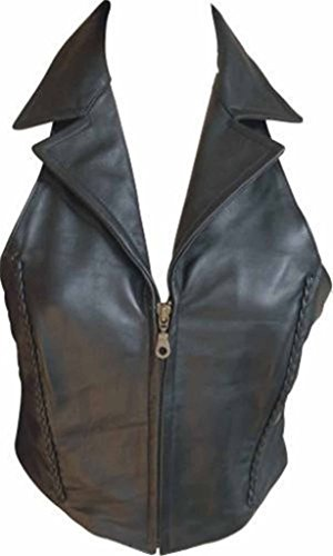 Allstate Leather Ladies Lambskin Leather Halter Top with Braid Zippered Front and Collar 3XL Black