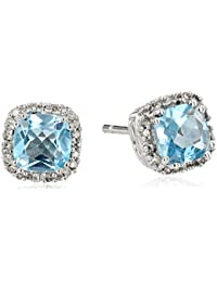 10K White Gold with Diamond Stud Earrings