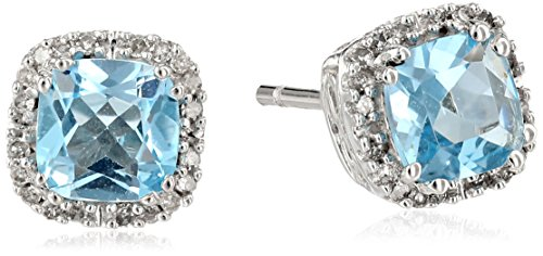 Diamond Blue Topaz Ring Earrings (10k White Gold Blue Topaz Cushion with Diamond Stud Earrings)