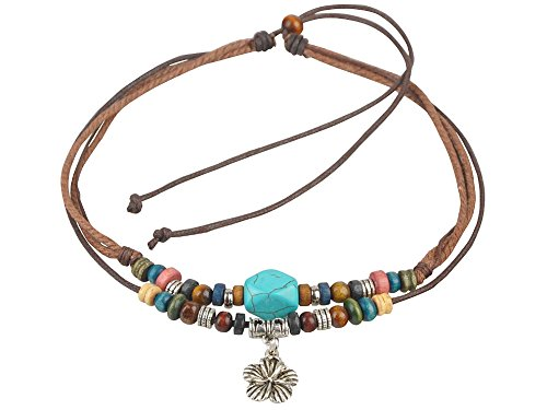 Ancient Tribe Unisex Adjustable Hemp Cord Wood Beads Beaded Choker Necklace Turquoise Bead