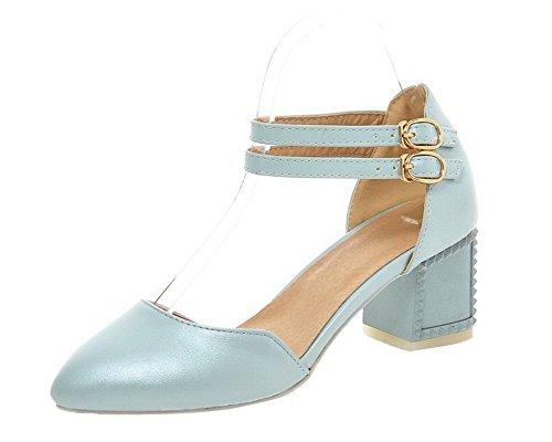 VogueZone009 Women Closed-Toe Pu Buckle Solid Kitten-Heels Sandals Blue