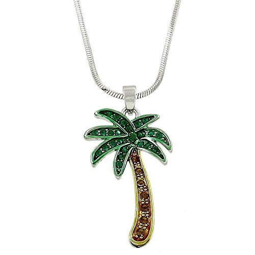 Lola Bella Gifts Crystal Palm Tree Tropical Pendant Necklace with Gift Box ()