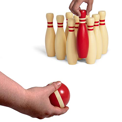 Deluxe Natural Wood Lawn Bowling Set with Ten 9 Inch Pins & 2 Balls - Includes Bonus Carrying Bag! by BBG (Image #2)