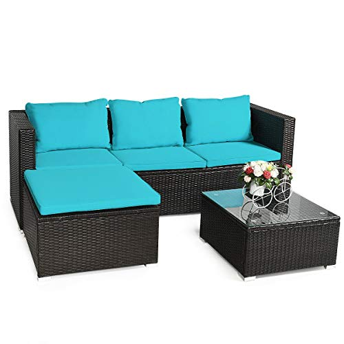 Tangkula 4 PCS Rattan Patio Conversation Set, Outdoor Wicker Sofa Set Furniture Set, Washable Seat Zippered Back Cushions, Sectional Patio Sofa Set with Tempered Glass Coffee Table Turquoise