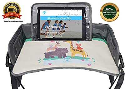 AdoraBlue Kids Travel Tray. Premium Quality, Unique Waterproof Screen Holder, Sturdy Erasable Surface, Storage & Organizer. 3 in 1 Car Seat Tray, Reversible