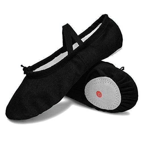 JOINFREE Girl's Women's Split-Sole Dance Flat Elastic Ballet Shoes Canvas Yoga Slippers Black 3 Little Kid