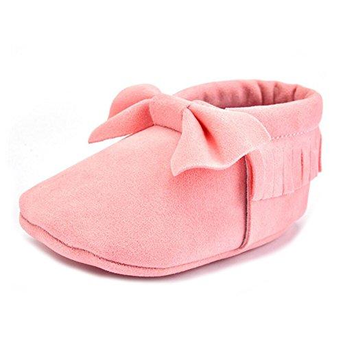 Vlunt Babyschuhe Baby-Krippe Quasten Schuhe Casual Bowknot Schuhe Lauflernschuhe 0-18 Monate Rosa-12cm