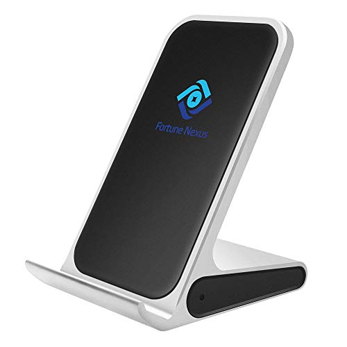Fortune Nexus Fast Qi Certified Wireless Charger Stand Aluminum Alloy Compatible 7.5W iPhone X/Xs/Xs Max/Xr/8/8 Plus, 10W Samsung Galaxy S10/ S10plus/S10E S10S9/S9 Plus/Note 8/S8/All Qi-Enabled Phones