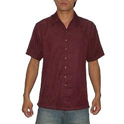 Paradise Blue Mens Short Sleeve Hawaiian Camp Shirt Small Wine Red