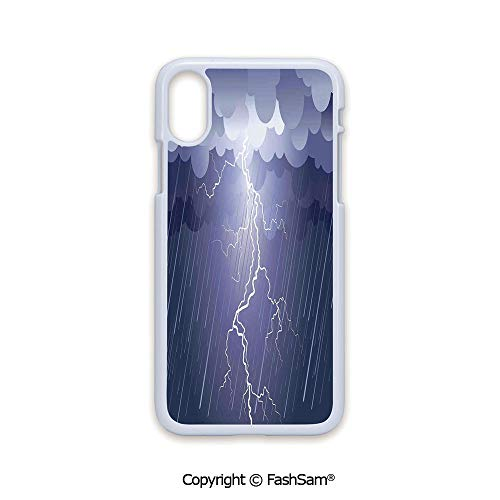 Plastic Rigid Mobile Phone case Compatible with iPhone X Black Edge Lightning Strike Thunderstorm in Air at Dark Night Rainy Electric Force Flashes Image 2D Print Hard Plastic Phone Case