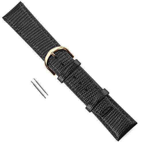 - Watch Band Lizard Grain Stitched, and Padded Leather Replacement Watchband Black 18mm