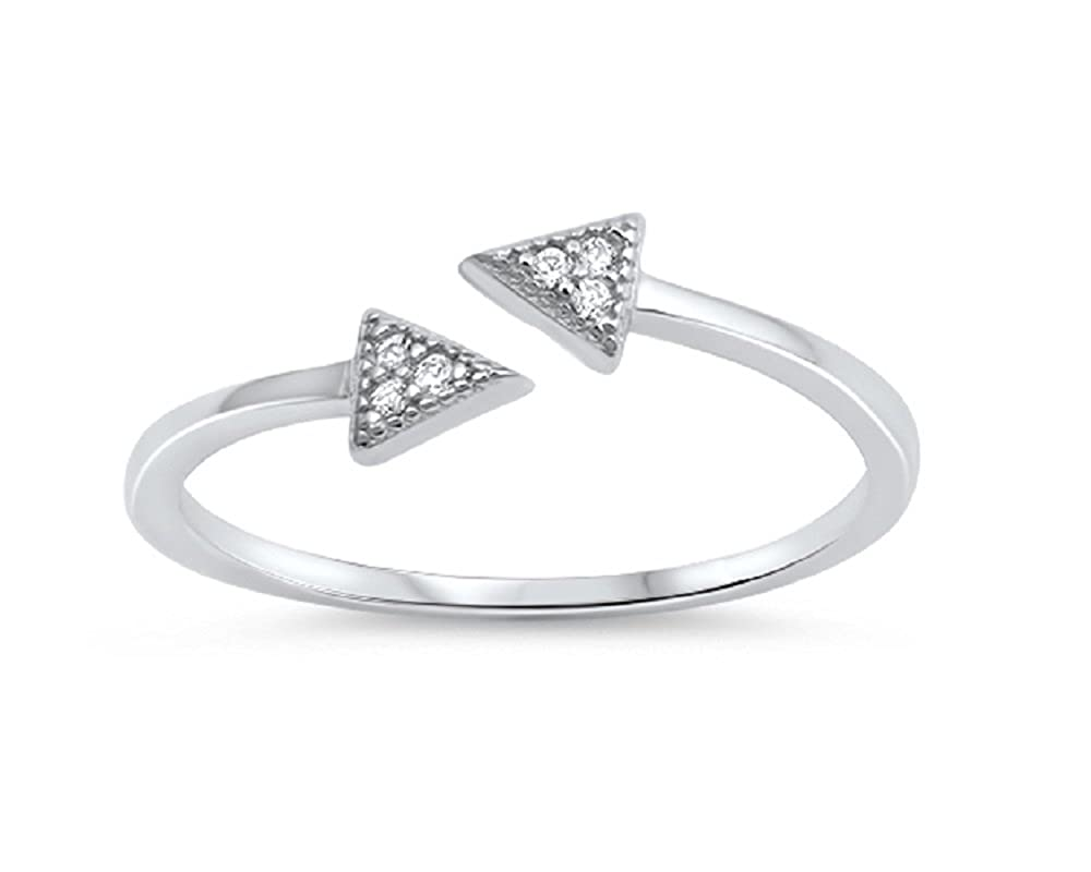 Clear Cubic Zirconia Double Arrows Ring Sterling Silver
