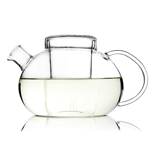 Teapot with Infuser (1100 Milliliter 37 Ounce) Loose Fruit Flower Hibiscus Tea Strainer Pot Set Made of Tempered Borosilicate Glass Novelty Handmade Kettle for Afternoon Tea - Grace Unihom